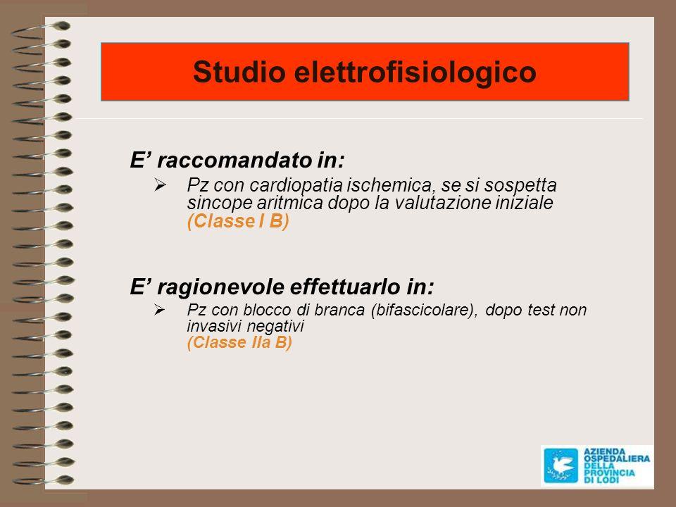 Studio elettrofisiologico E raccomandato in: Pz con cardiopatia ischemica, se si sospetta sincope aritmica dopo la valutazione iniziale (Classe I B) E