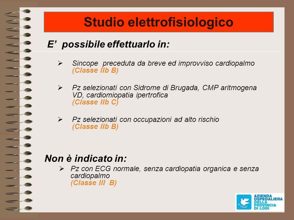 Studio elettrofisiologico E possibile effettuarlo in: Sincope preceduta da breve ed improvviso cardiopalmo (Classe IIb B) Pz selezionati con Sidrome d