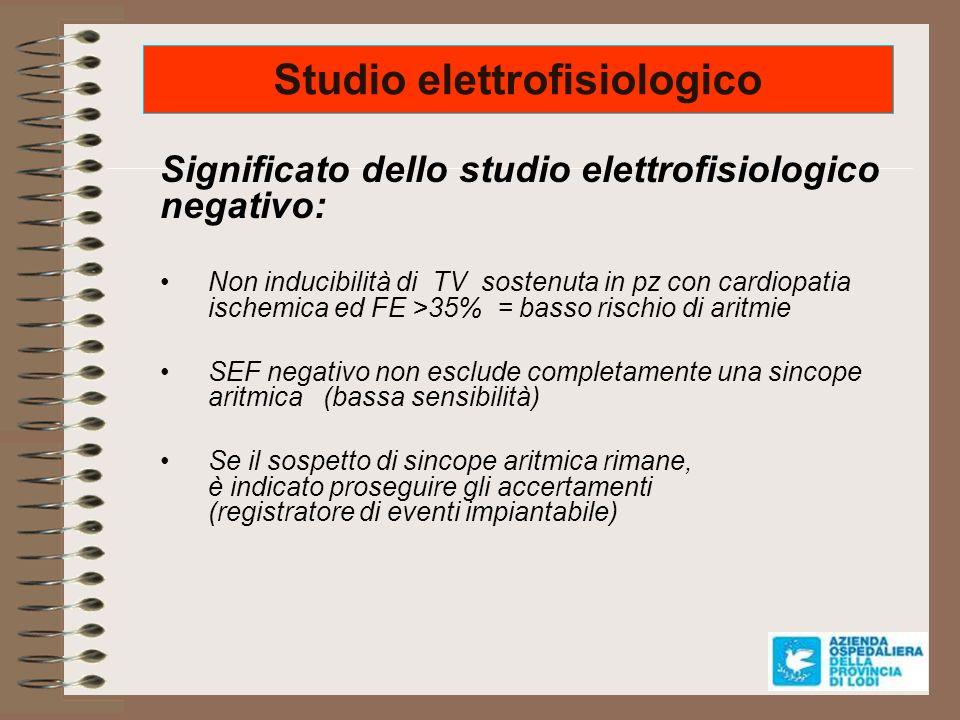 Studio elettrofisiologico Significato dello studio elettrofisiologico negativo: Non inducibilità di TV sostenuta in pz con cardiopatia ischemica ed FE