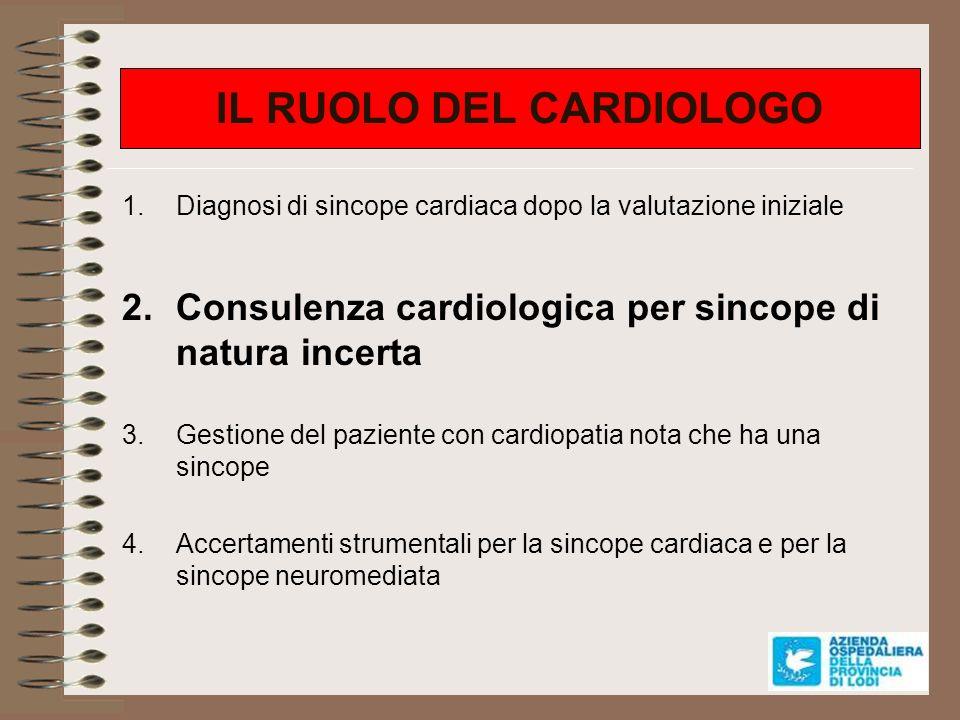 Altri esami cardiologici 1.Test ergometrico: Indicazione: perdite di coscienza durante o immediatamente dopo sforzo Diagnosi: si riproduce sincope (alterazioni ECG o ipotensione severa) oppure compare blocco AV II grado tipo Mobitz anche asintomatico 2.Esami di imaging: 1.TC torace / scintigrafia polmonare 2.Coronarografia 3.RMN cuore 3.Monitorizzazione ECGrafica invasiva: loop recorder impiantabile
