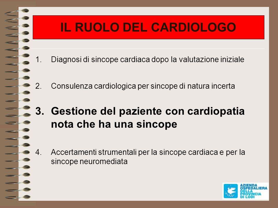 Sincope in cardiopatia nota Cardiopatia ischemica (FE 35%) CMD non-ischemica (FE significativ.
