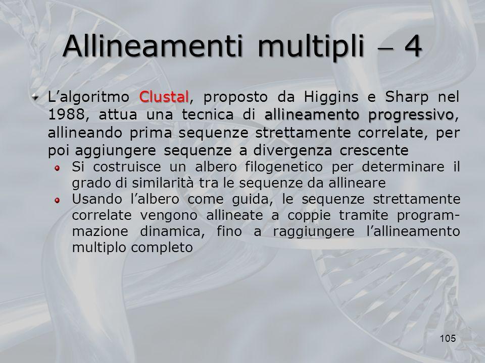 Allineamenti multipli 4 105 Clustal allineamento progressivo Lalgoritmo Clustal, proposto da Higgins e Sharp nel 1988, attua una tecnica di allineamen