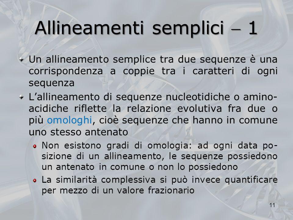 Allineamenti semplici 1 Un allineamento semplice tra due sequenze è una corrispondenza a coppie tra i caratteri di ogni sequenza omologhi Lallineament