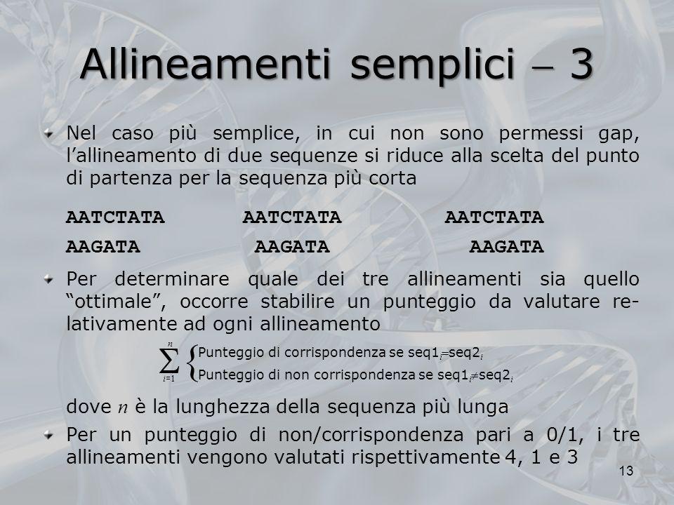Allineamenti semplici 3 Nel caso più semplice, in cui non sono permessi gap, lallineamento di due sequenze si riduce alla scelta del punto di partenza