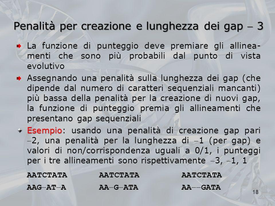 Penalità per creazione e lunghezza dei gap 3 La funzione di punteggio deve premiare gli allinea- menti che sono più probabili dal punto di vista evolu