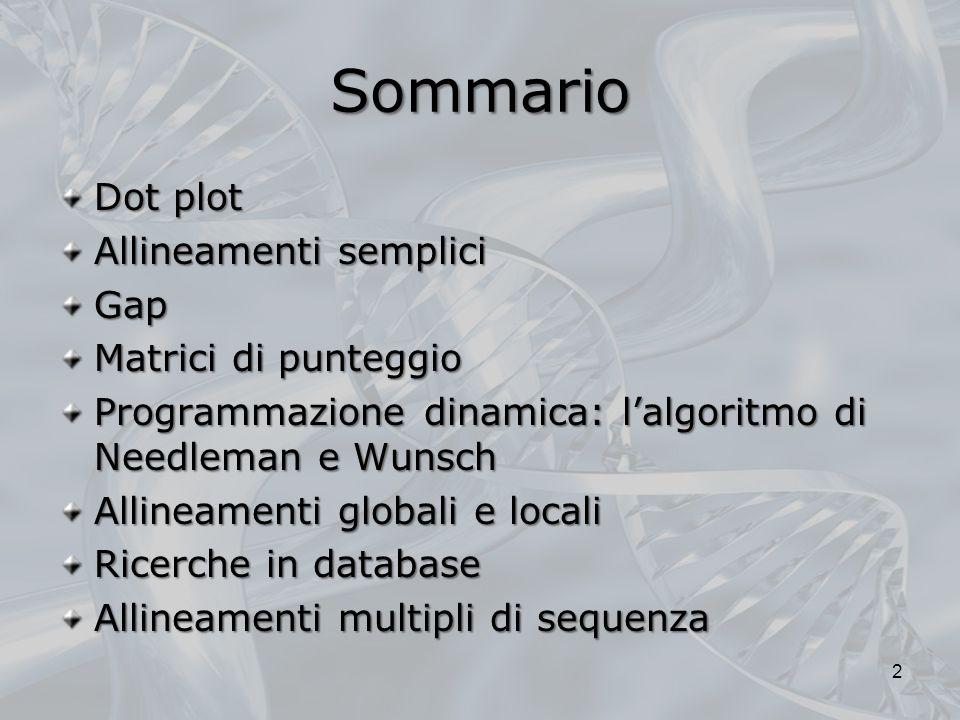 Sommario Dot plot Allineamenti semplici Gap Matrici di punteggio Programmazione dinamica: lalgoritmo di Needleman e Wunsch Allineamenti globali e loca