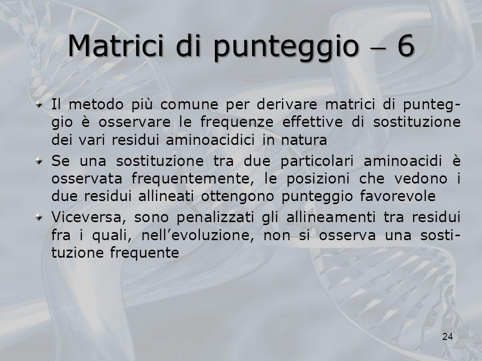 Matrici di punteggio 6 24 Il metodo più comune per derivare matrici di punteg- gio è osservare le frequenze effettive di sostituzione dei vari residui