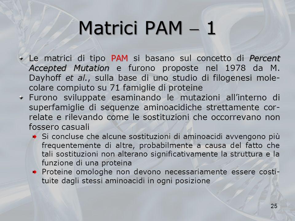 Matrici PAM 1 PAMPercent Accepted Mutation Le matrici di tipo PAM si basano sul concetto di Percent Accepted Mutation e furono proposte nel 1978 da M.