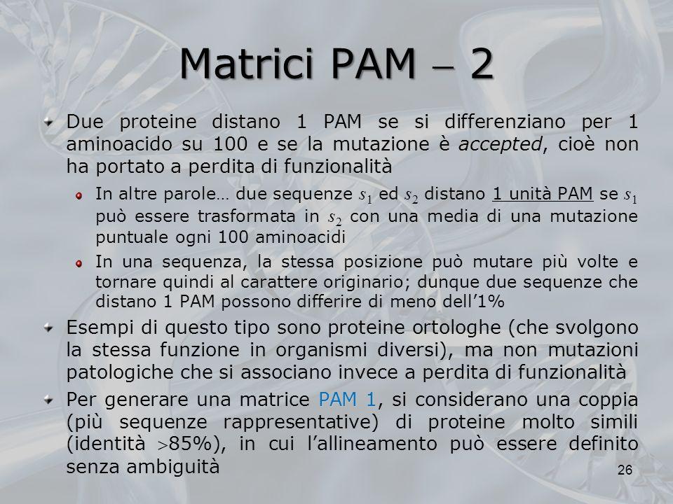 Matrici PAM 2 Due proteine distano 1 PAM se si differenziano per 1 aminoacido su 100 e se la mutazione è accepted, cioè non ha portato a perdita di fu