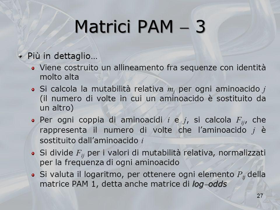 Matrici PAM 3 Più in dettaglio… Viene costruito un allineamento fra sequenze con identità molto alta Si calcola la mutabilità relativa m j per ogni am