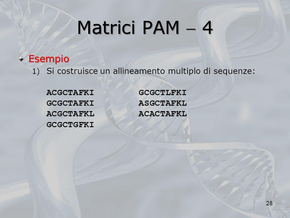 Matrici PAM 4 Esempio 1) Si costruisce un allineamento multiplo di sequenze: ACGCTAFKI GCGCTLFKI GCGCTAFKI ASGCTAFKL ACGCTAFKL ACACTAFKL GCGCTGFKI 28