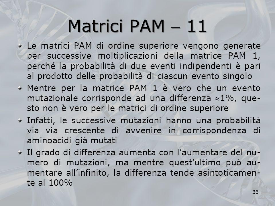Matrici PAM 11 Le matrici PAM di ordine superiore vengono generate per successive moltiplicazioni della matrice PAM 1, perché la probabilità di due ev