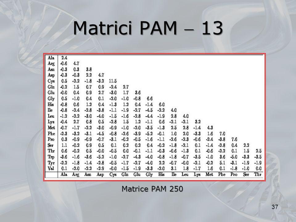 Matrici PAM 13 37 Matrice PAM 250
