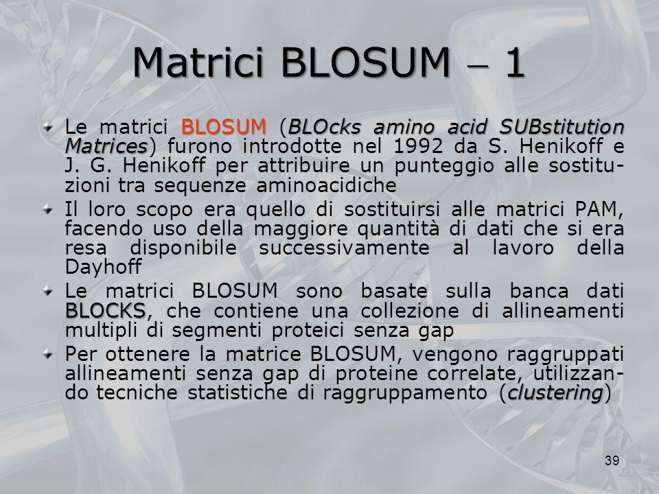 Matrici BLOSUM 1 BLOSUMBLOcks amino acid SUBstitution Matrices Le matrici BLOSUM (BLOcks amino acid SUBstitution Matrices) furono introdotte nel 1992