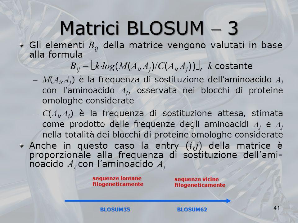 Matrici BLOSUM 3 Gli elementi B ij della matrice vengono valutati in base alla formula B ij = k log ( M ( A i, A j ) /C ( A i, A j )), k costante –M (