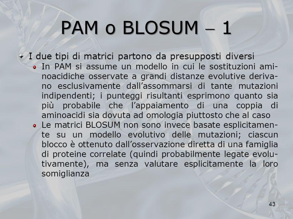 PAM o BLOSUM 1 I due tipi di matrici partono da presupposti diversi In PAM si assume un modello in cui le sostituzioni ami- noacidiche osservate a gra