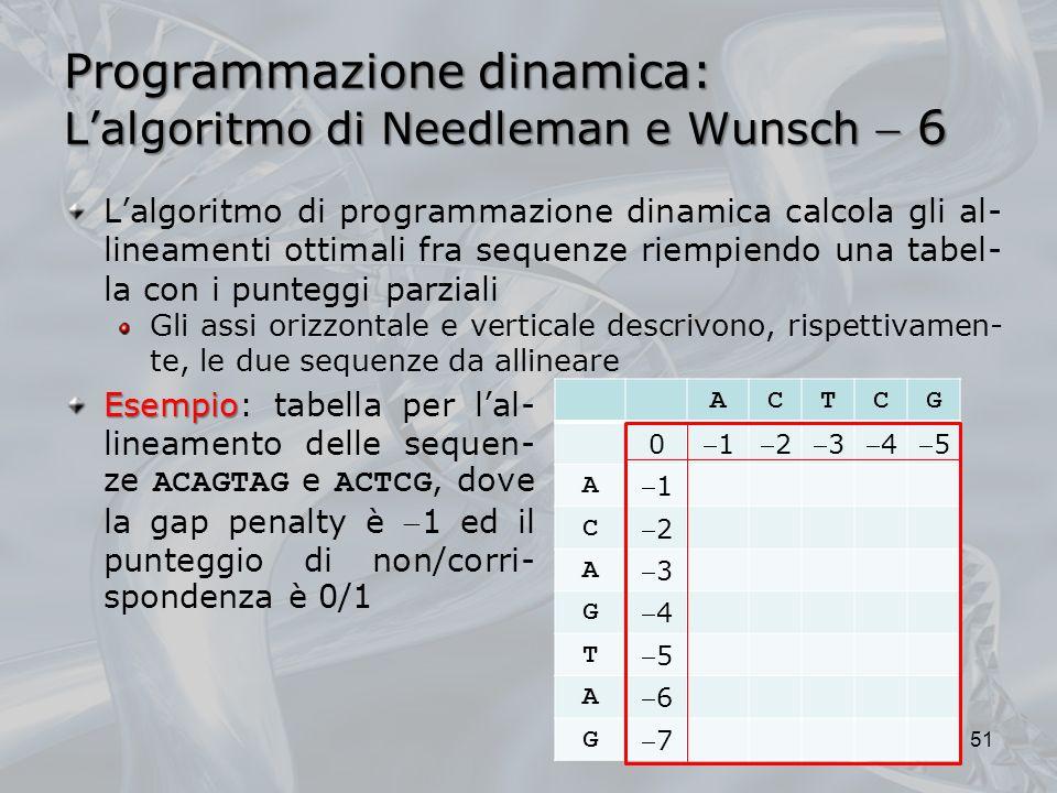 Programmazione dinamica: Lalgoritmo di Needleman e Wunsch 6 Esempio Esempio: tabella per lal- lineamento delle sequen- ze ACAGTAG e ACTCG, dove la gap