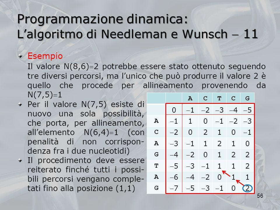 Programmazione dinamica: Lalgoritmo di Needleman e Wunsch 11 56 Per il valore N(7,5) esiste di nuovo una sola possibilità, che porta, per allineamento