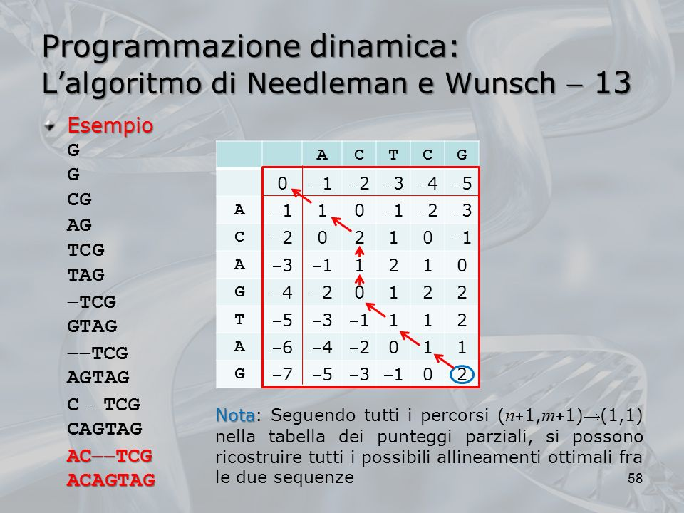 Esempio G G CG AG TCG TAG Programmazione dinamica: Lalgoritmo di Needleman e Wunsch 13 58 ACTCG 0 12345 A 1 10 123 C 2 0210 1 A 31 1210 G 42 0122 T 53