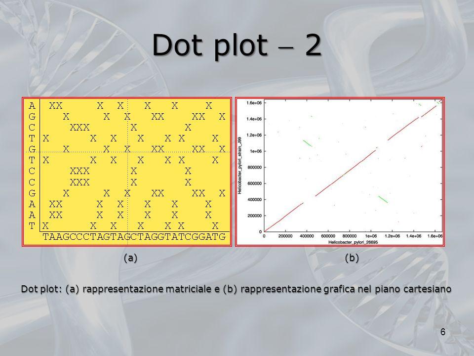 Dot plot 3 Ciò indica che vi sono state inserzioni o delezioni nei segmenti tra le regio- ni di similarità 7 Le regioni di similarità saranno pertanto visualizzabili come linee diagonali che procedono nella direzione SudOvest NordEst; sequenze ripetute produrranno diagonali parallele Il dot plot cattura dunque, in una singola immagine, non solo la similarità complessiva tra due sequenze, ma anche linsieme completo e la relativa qualità dei diversi allineamenti possibili Spesso alcune regioni di similarità possono risultare spostate, in modo da apparire su diagonali parallele, ma non collineari