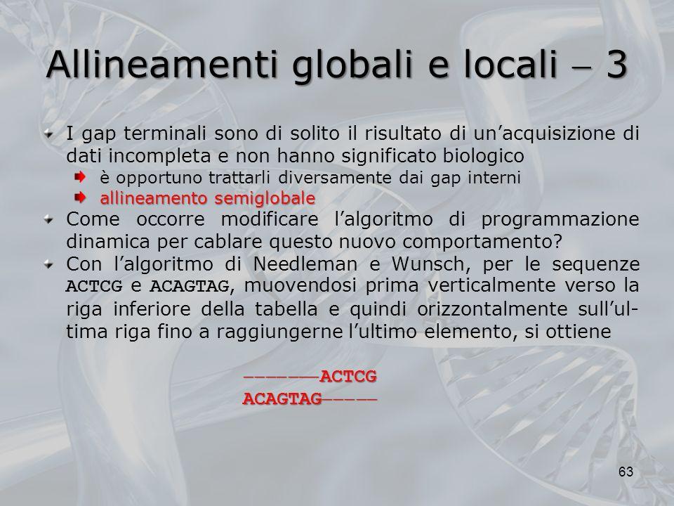 Allineamenti globali e locali 3 63 I gap terminali sono di solito il risultato di unacquisizione di dati incompleta e non hanno significato biologico