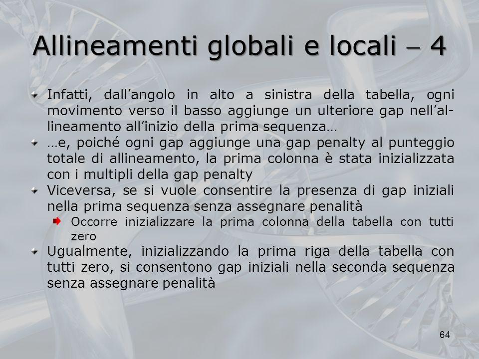 Allineamenti globali e locali 4 64 Infatti, dallangolo in alto a sinistra della tabella, ogni movimento verso il basso aggiunge un ulteriore gap nella