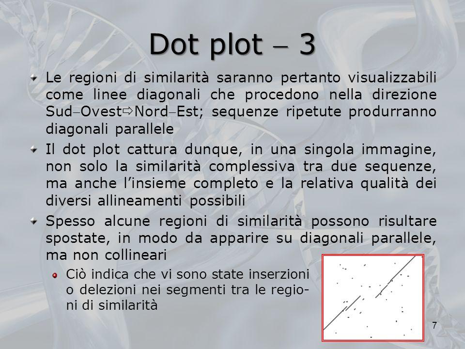 Dot plot 3 Ciò indica che vi sono state inserzioni o delezioni nei segmenti tra le regio- ni di similarità 7 Le regioni di similarità saranno pertanto