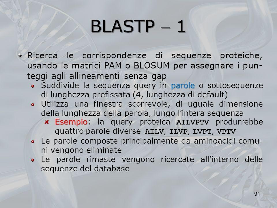 BLASTP 1 91 Ricerca le corrispondenze di sequenze proteiche, usando le matrici PAM o BLOSUM per assegnare i pun- teggi agli allineamenti senza gap par
