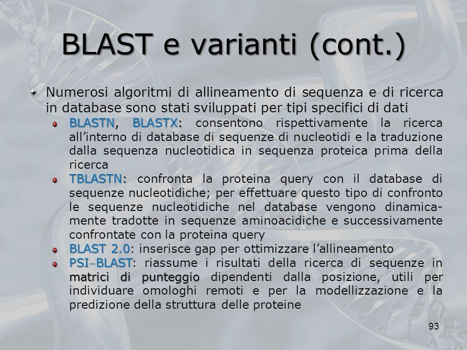 BLAST e varianti (cont.) 93 Numerosi algoritmi di allineamento di sequenza e di ricerca in database sono stati sviluppati per tipi specifici di dati B