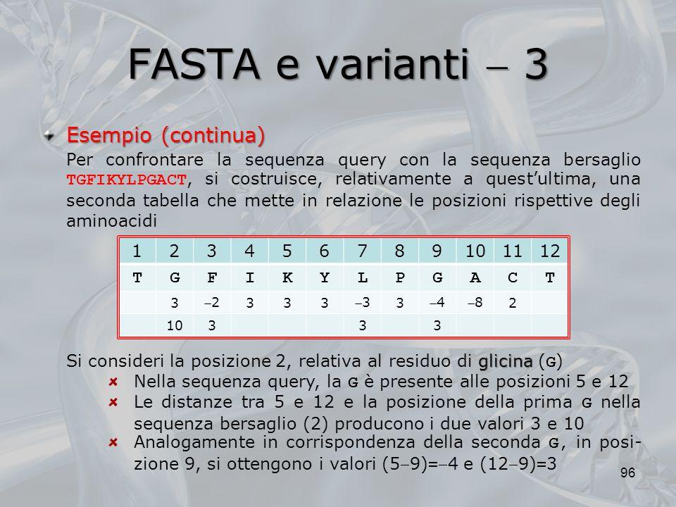 FASTA e varianti 3 96 Esempio (continua) Per confrontare la sequenza query con la sequenza bersaglio TGFIKYLPGACT, si costruisce, relativamente a ques