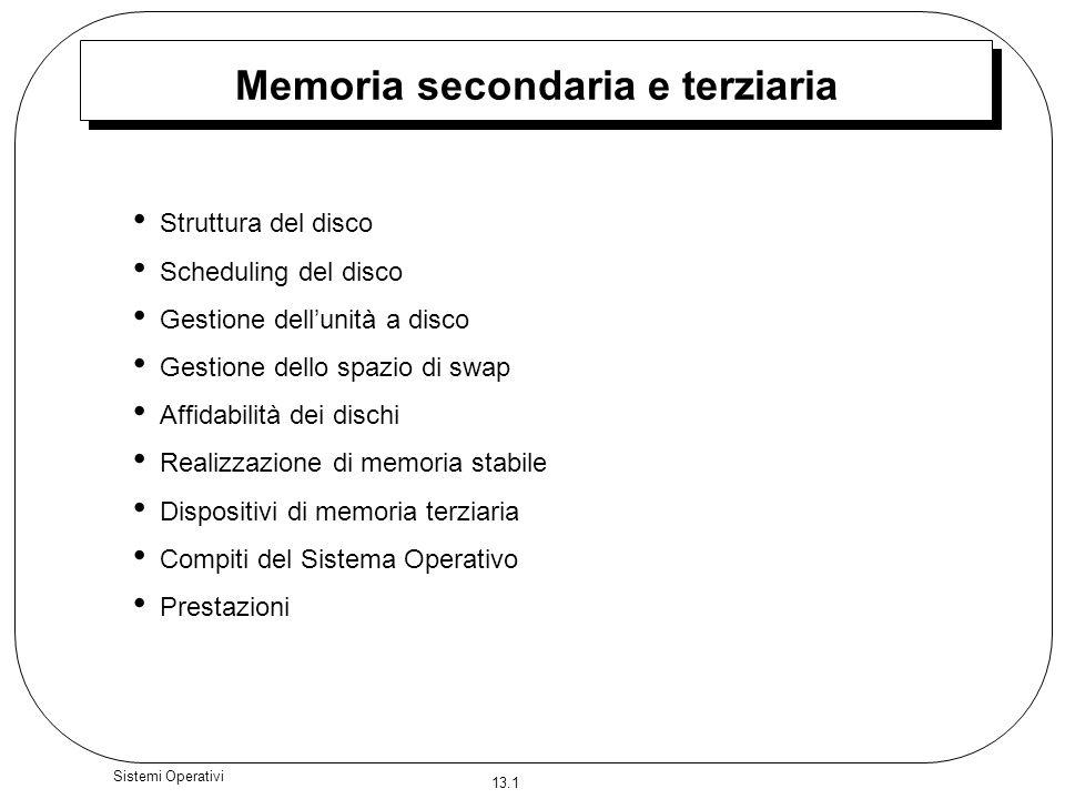 13.1 Sistemi Operativi Memoria secondaria e terziaria Struttura del disco Scheduling del disco Gestione dellunità a disco Gestione dello spazio di swa