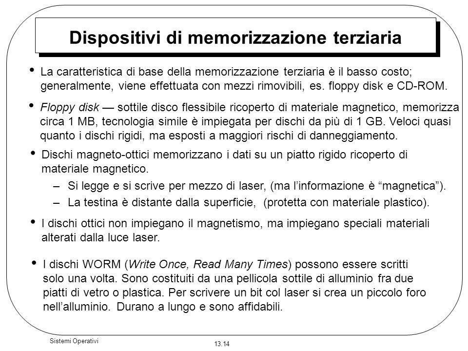13.14 Sistemi Operativi Dispositivi di memorizzazione terziaria La caratteristica di base della memorizzazione terziaria è il basso costo; generalment