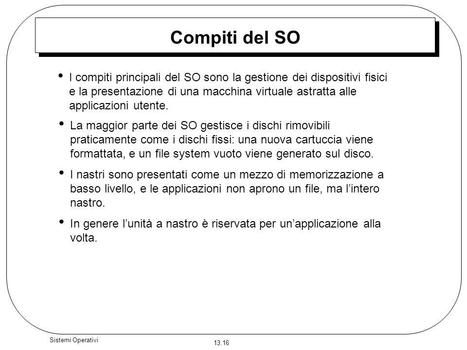 13.16 Sistemi Operativi Compiti del SO I compiti principali del SO sono la gestione dei dispositivi fisici e la presentazione di una macchina virtuale