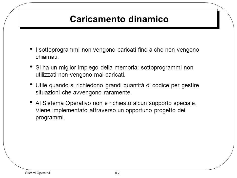8.2 Sistemi Operativi Caricamento dinamico I sottoprogrammi non vengono caricati fino a che non vengono chiamati.