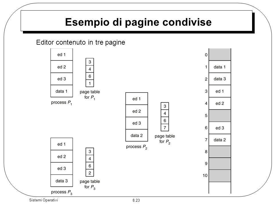 8.23 Sistemi Operativi Esempio di pagine condivise Editor contenuto in tre pagine