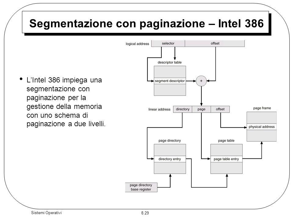 8.29 Sistemi Operativi Segmentazione con paginazione – Intel 386 LIntel 386 impiega una segmentazione con paginazione per la gestione della memoria con uno schema di paginazione a due livelli.