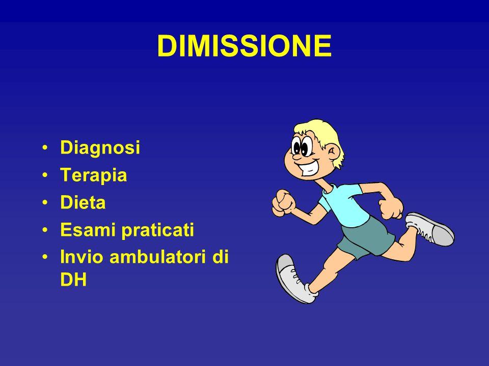 DIMISSIONE Diagnosi Terapia Dieta Esami praticati Invio ambulatori di DH