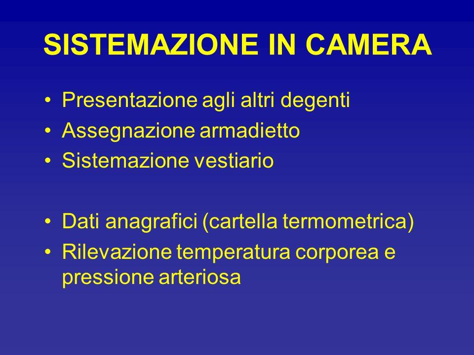 SISTEMAZIONE IN CAMERA Presentazione agli altri degenti Assegnazione armadietto Sistemazione vestiario Dati anagrafici (cartella termometrica) Rilevaz