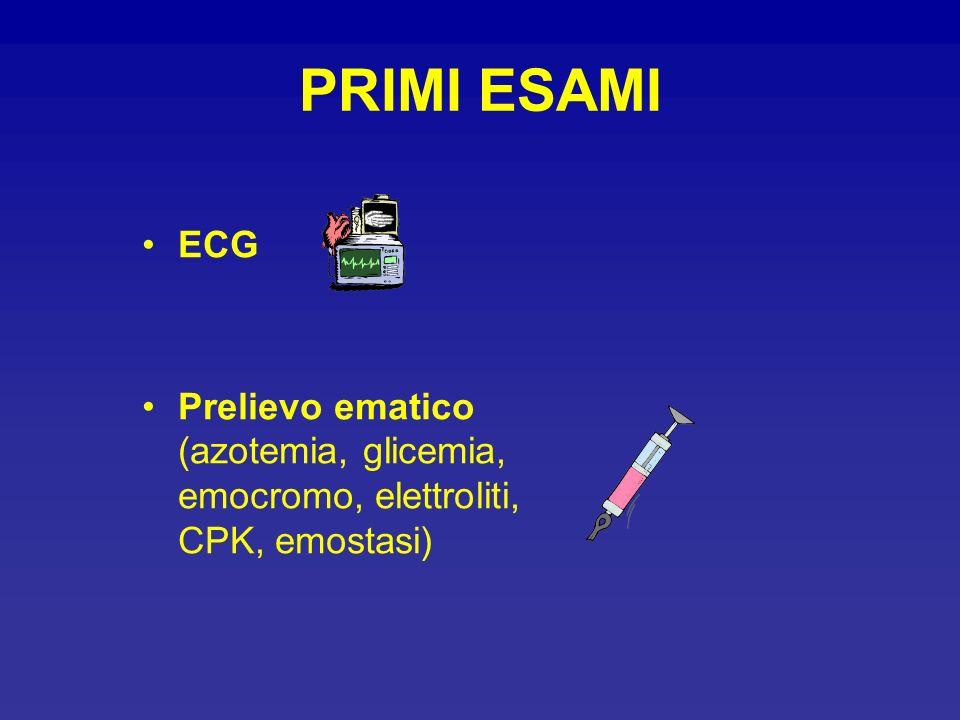 PRIMI ESAMI ECG Prelievo ematico (azotemia, glicemia, emocromo, elettroliti, CPK, emostasi)