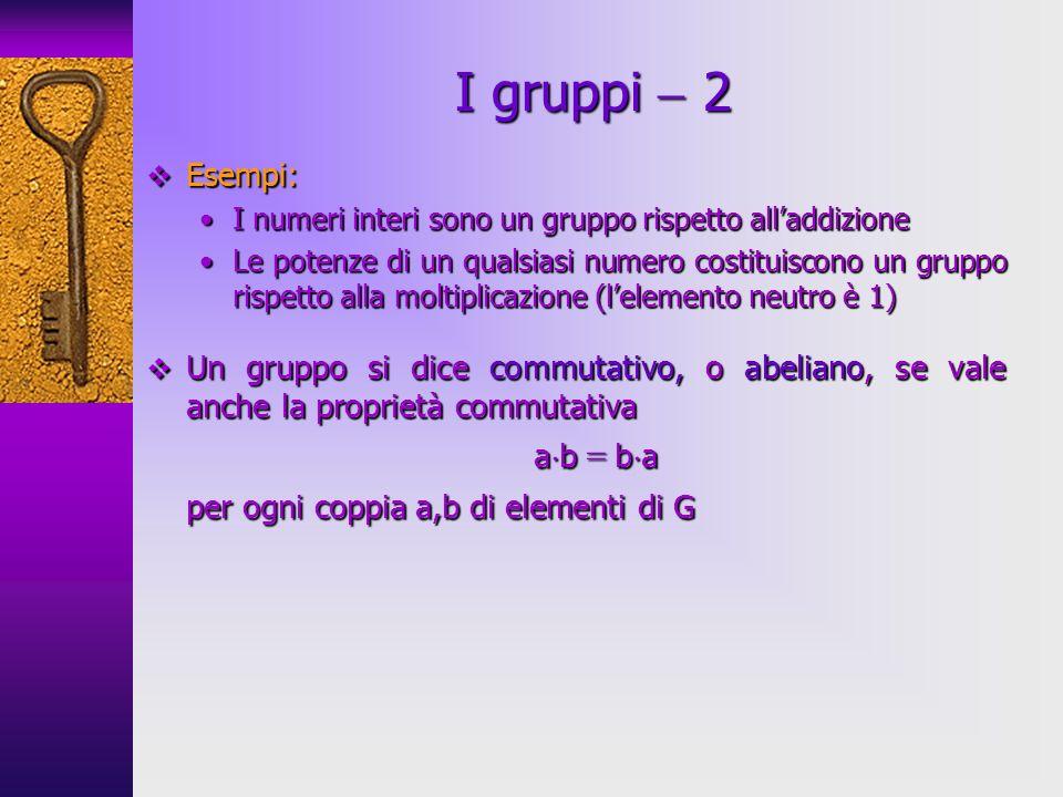 Esempi: Esempi: I numeri interi sono un gruppo rispetto alladdizioneI numeri interi sono un gruppo rispetto alladdizione Le potenze di un qualsiasi nu