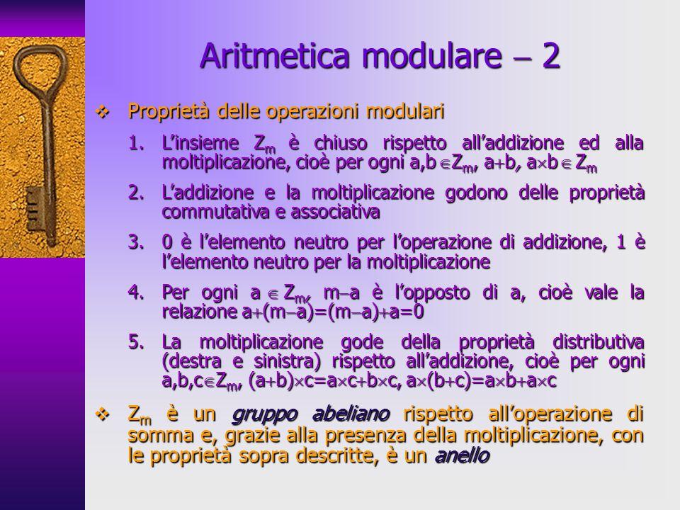 Proprietà delle operazioni modulari Proprietà delle operazioni modulari 1.Linsieme Z m è chiuso rispetto alladdizione ed alla moltiplicazione, cioè pe