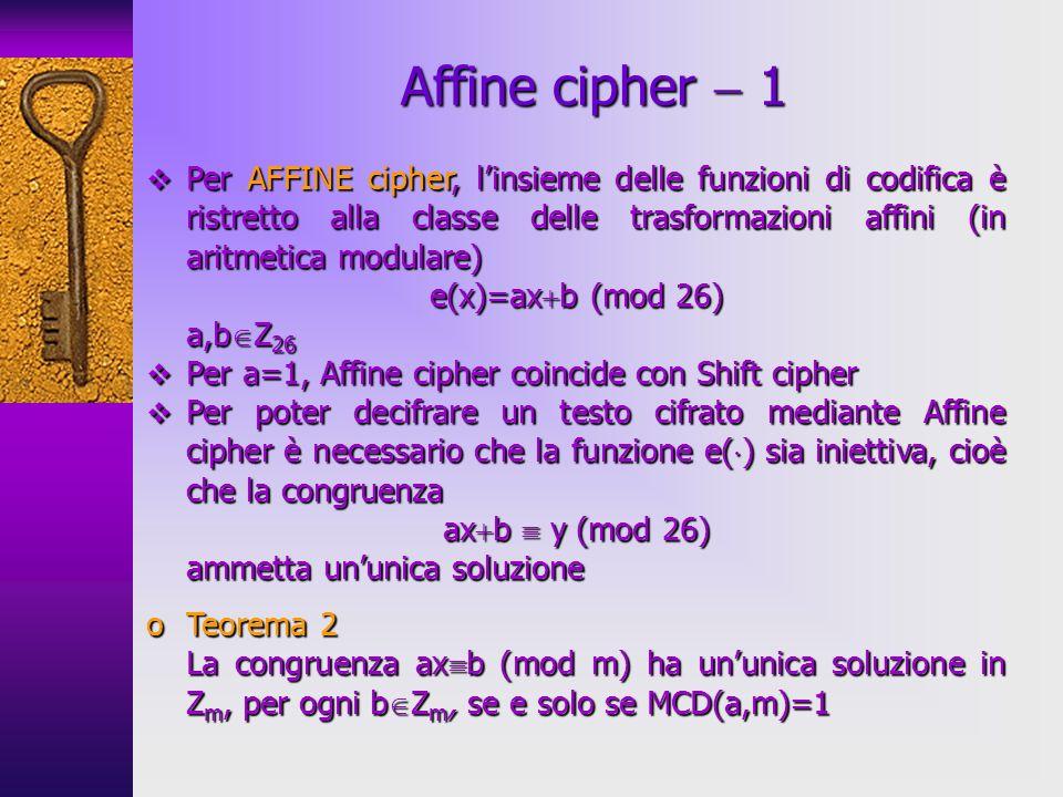 Per AFFINE cipher, linsieme delle funzioni di codifica è ristretto alla classe delle trasformazioni affini (in aritmetica modulare) Per AFFINE cipher,