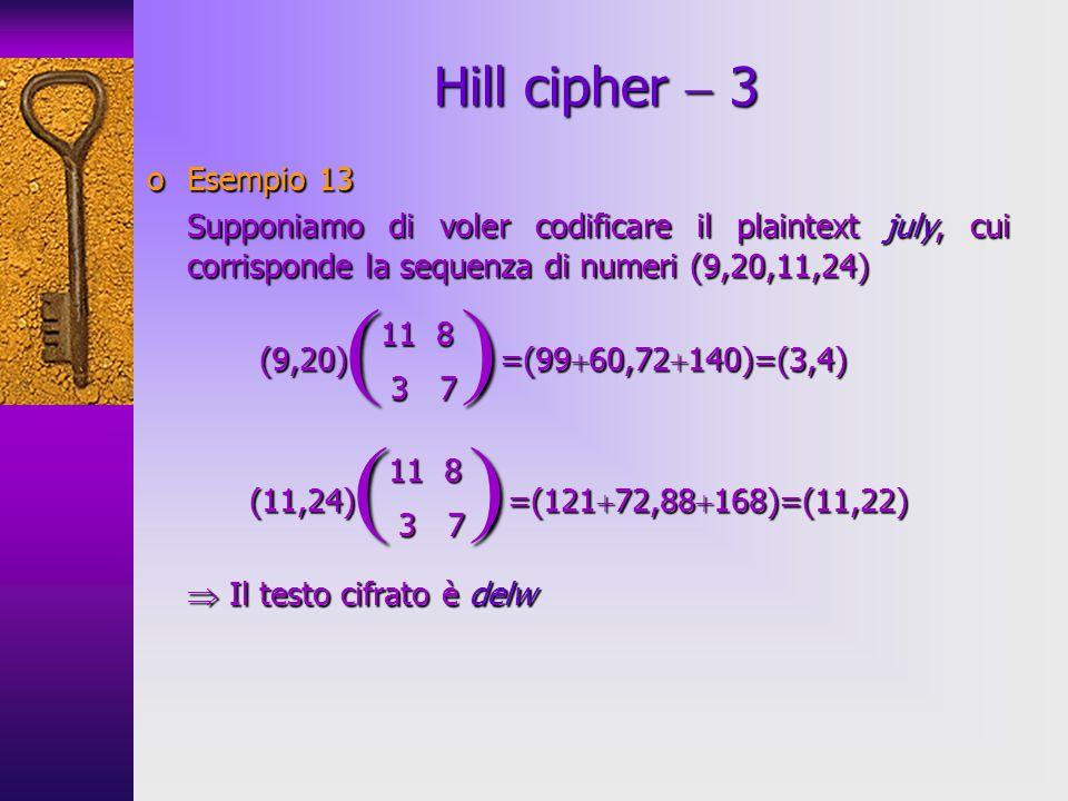 oEsempio 13 Supponiamo di voler codificare il plaintext july, cui corrisponde la sequenza di numeri (9,20,11,24) (9,20) =(99 60,72 140)=(3,4) (9,20) =
