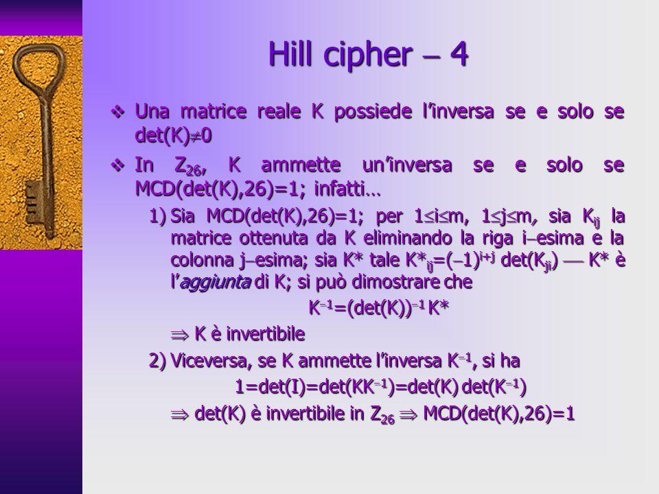 Una matrice reale K possiede linversa se e solo se det(K) 0 Una matrice reale K possiede linversa se e solo se det(K) 0 In Z 26, K ammette uninversa s