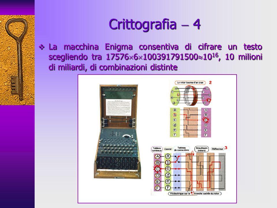 Crittografia 4 La macchina Enigma consentiva di cifrare un testo scegliendo tra 17576 6 100391791500 10 16, 10 milioni di miliardi, di combinazioni di