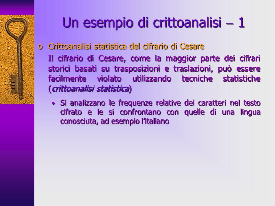 oCrittoanalisi statistica del cifrario di Cesare Il cifrario di Cesare, come la maggior parte dei cifrari storici basati su trasposizioni e traslazion