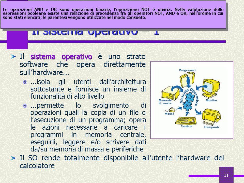 11 Il sistema operativo ̶ 1 Il SO rende totalmente disponibile allutente lhardware del calcolatore Le operazioni AND e OR sono operazioni binarie, lop