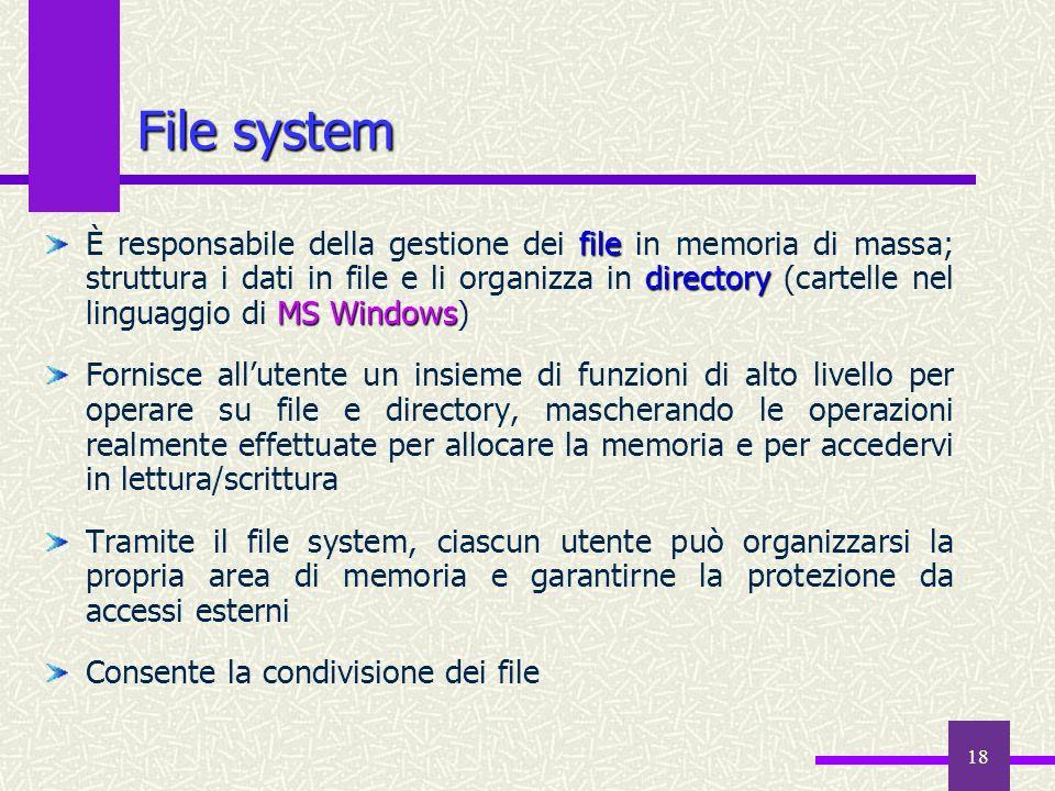 18 file directory MS Windows È responsabile della gestione dei file in memoria di massa; struttura i dati in file e li organizza in directory (cartell