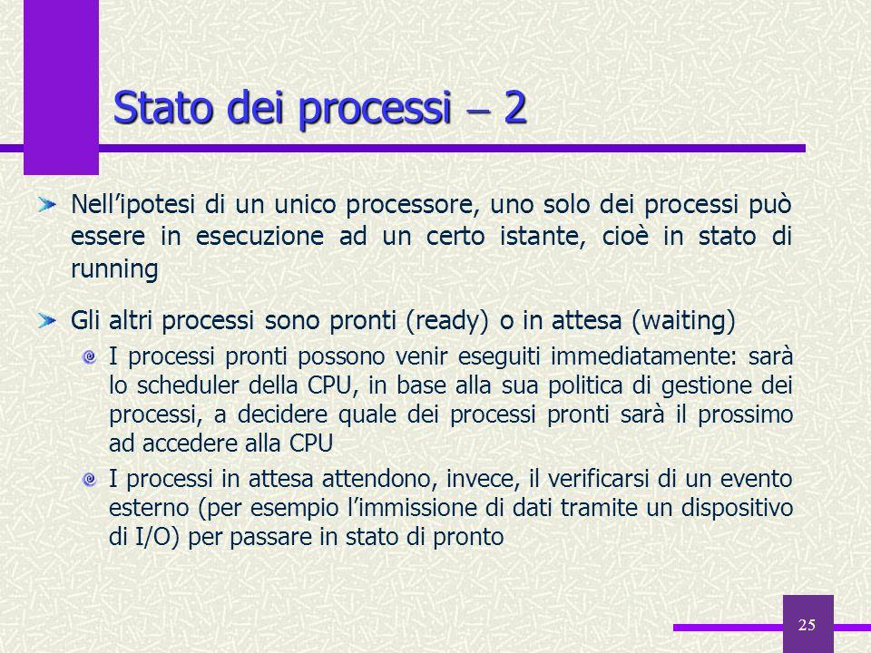 25 Stato dei processi 2 Nellipotesi di un unico processore, uno solo dei processi può essere in esecuzione ad un certo istante, cioè in stato di runni