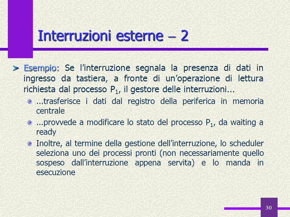 30 Interruzioni esterne 2 Esempio: Esempio: Se linterruzione segnala la presenza di dati in ingresso da tastiera, a fronte di unoperazione di lettura
